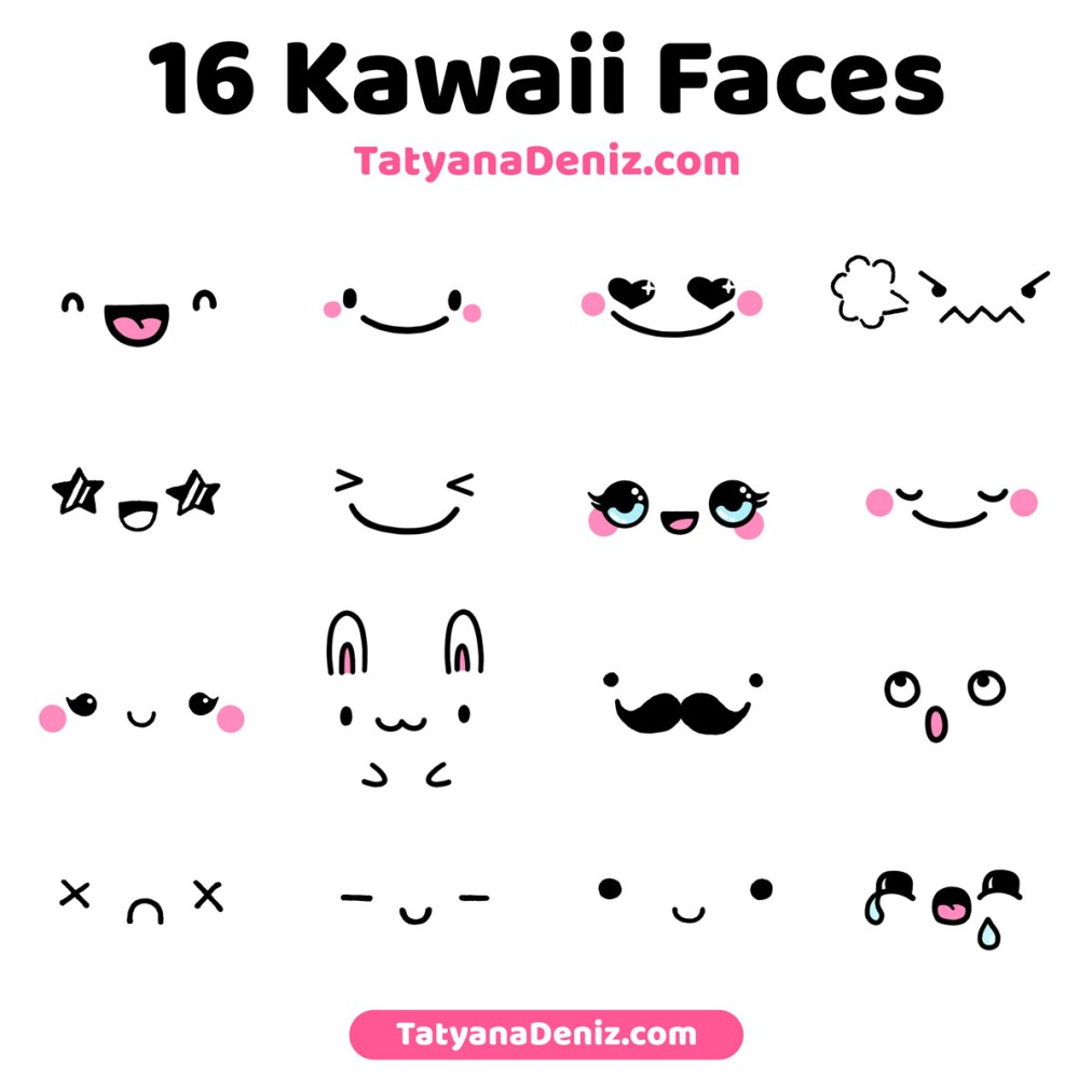 Kawaii faces and expressions