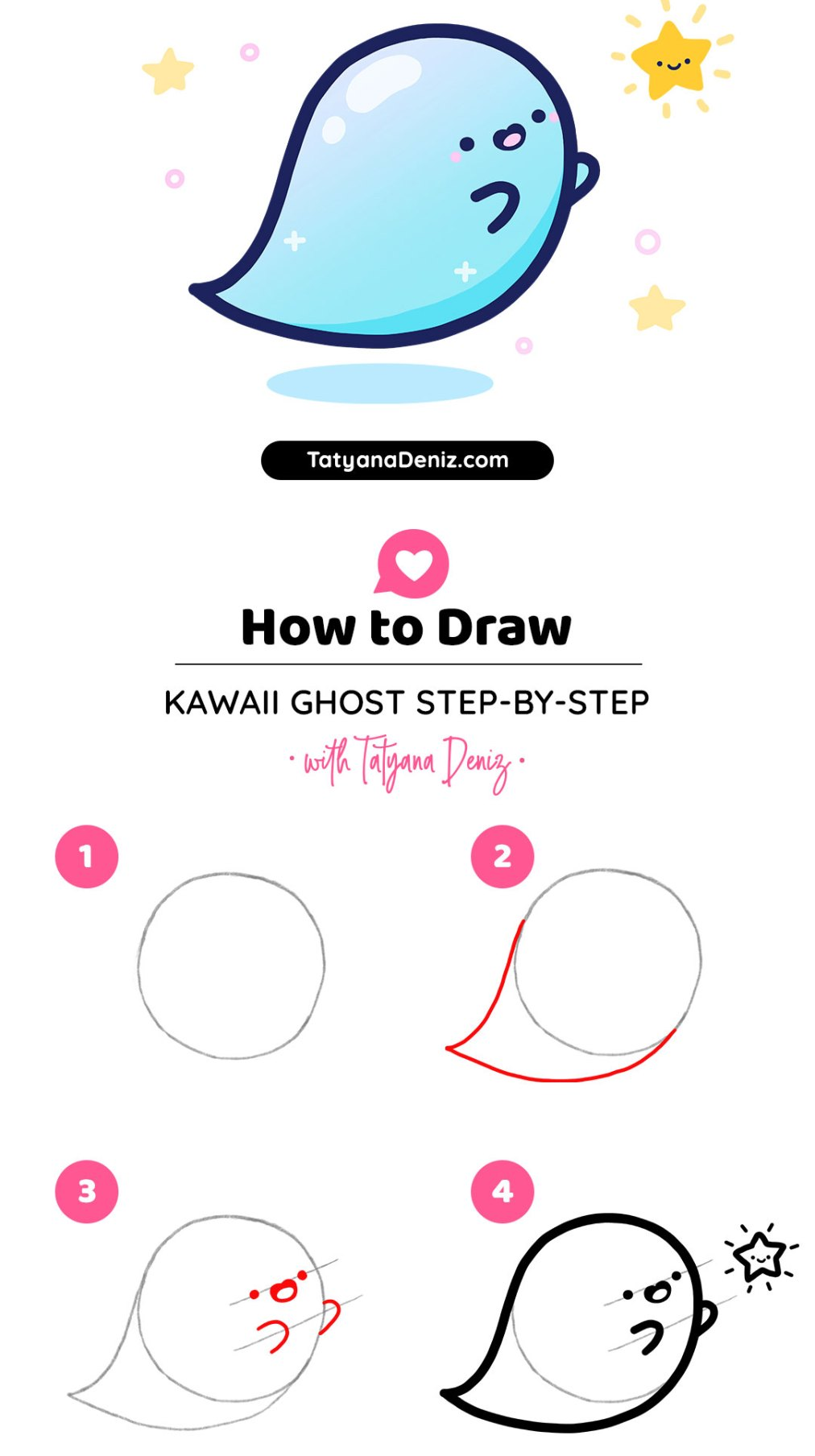 Kawaii Ghost Art by Tatyana Deniz
