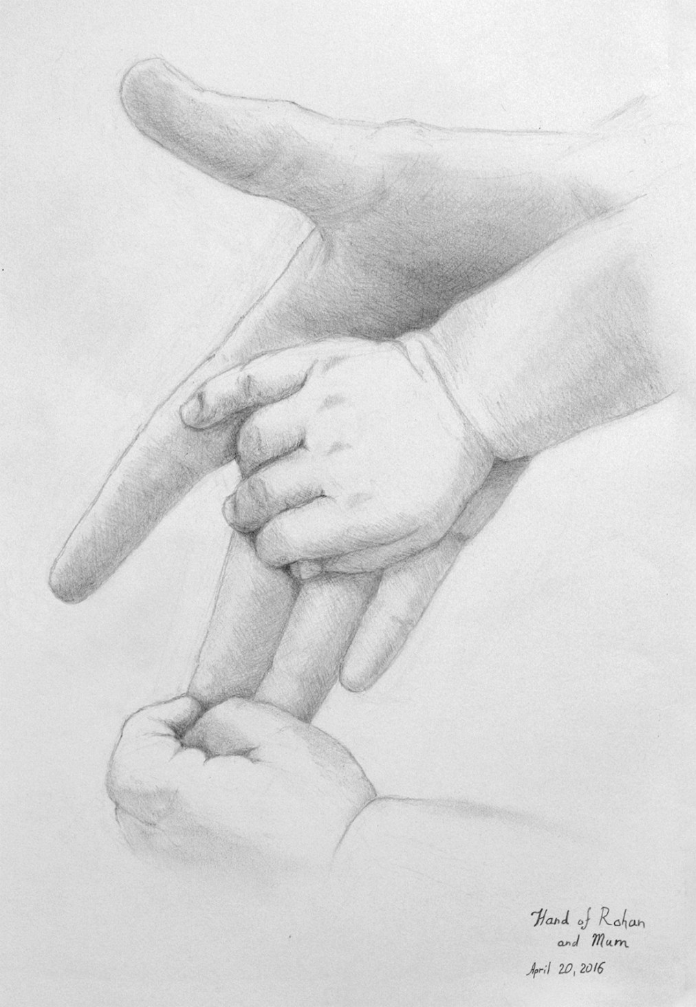 Holding hands by Tatyana Deniz, pencil on paper, 2016