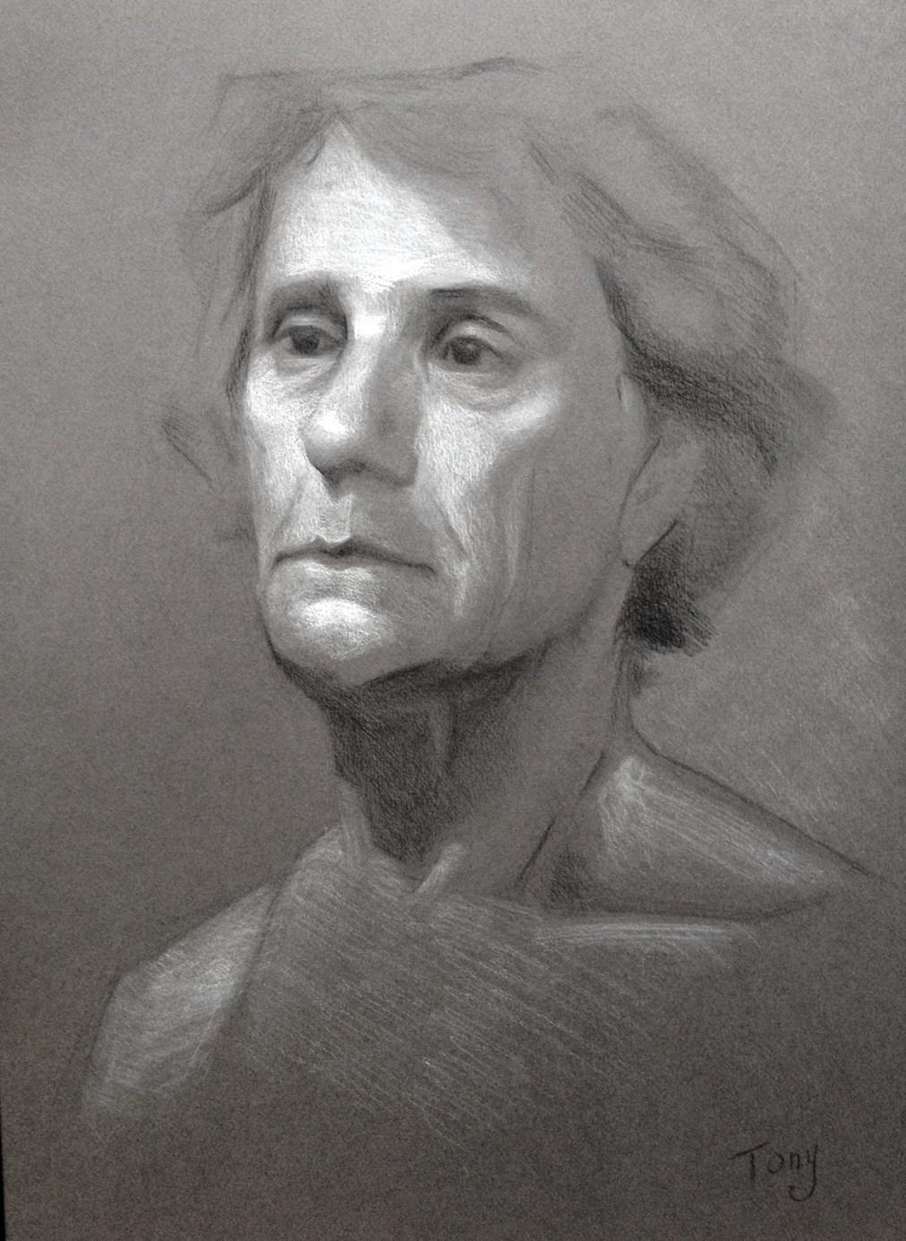 Tony by Tatyana Deniz, charcoal and chalk on paper, 2014