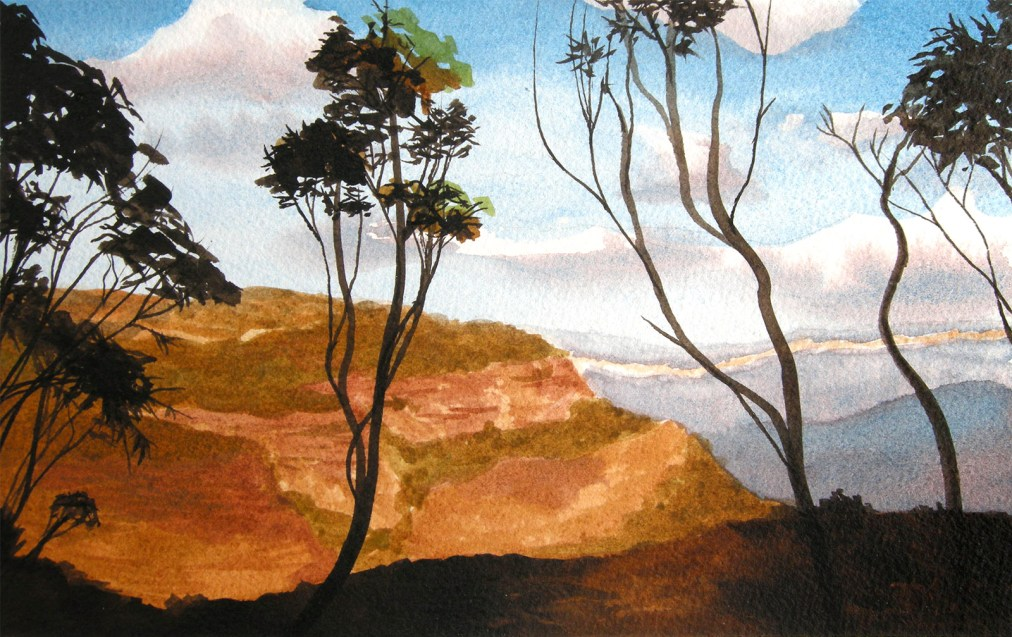 Blue Mountains by Tatyana Deniz, watercolor on cotton, 2011