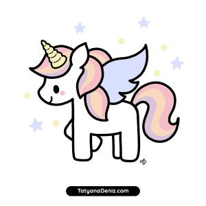 unicorn kawaii easy draw drawing step