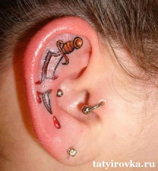 Татуировка на мочке уха 17