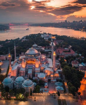 Hagia Sophia, Fatih Istanbul Turkey - Aerial photography, Byzantine architecture, Dome, Mosque, Sunset
