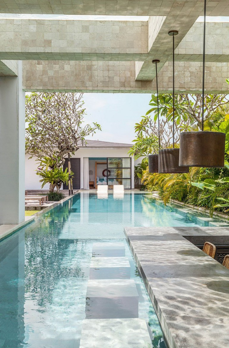 Ubud Gianyar Indonesia - Aqua, Ceiling, Composite material, Outdoor structure, Property, Real estate, Reflection, Resort, Swimming pool, Tile, Turquoise, Water