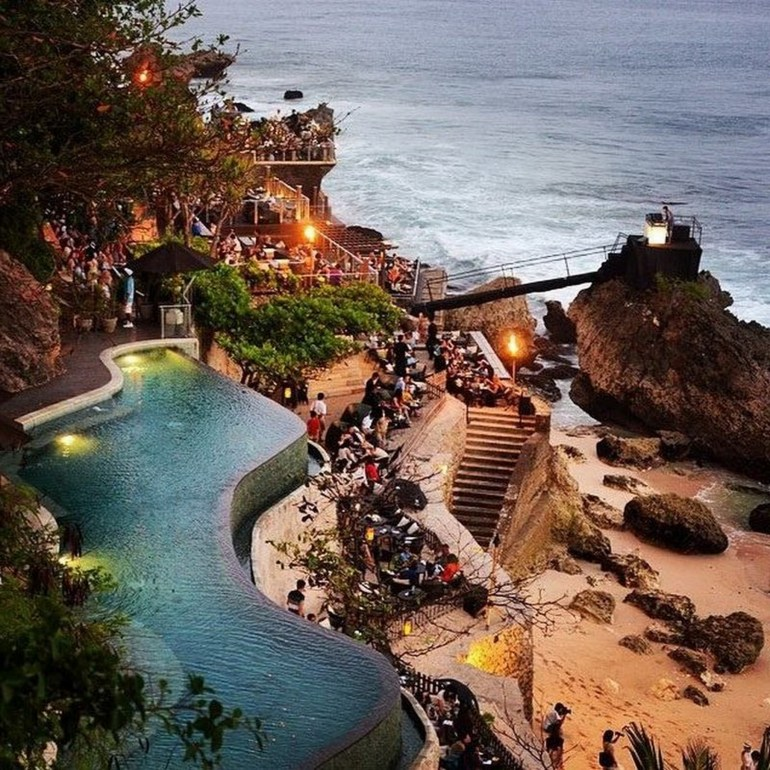 Boutique Hotel Gianyar Indonesia - Bay, Beach, Body of water, Coast, Coastal and oceanic landforms, Landscape, Outdoor structure, Resort, Shore, Swimming pool, Tourism, Water