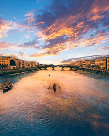 Florence, Florence Florence Italy - Afterglow, Atmosphere, Azure, Bank, Cloud, Cumulus, Daytime, Dusk, Horizon, Natural landscape, Sky, Sunlight, Sunrise, Sunset, Water, Water resources