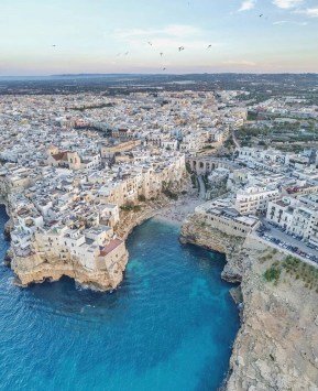 Polignano a Mare, Italy - Beach, Cloud, Coastal and oceanic landforms, Lake, Landscape, Sky, Urban design, Water, Water resources