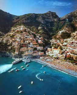 Positano, Campania Italy - Azure, Beach, Boat, Building, Cloud, Coastal and oceanic landforms, House, Leisure, Mountain, Sky, Travel, Water, Water resources, Watercraft