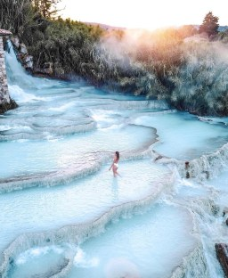 Saturnia, Italy - Cloud, Fluvial landforms of streams, Freezing, Natural landscape, Plant, Sky, Tree, Water, Water resources, Watercourse