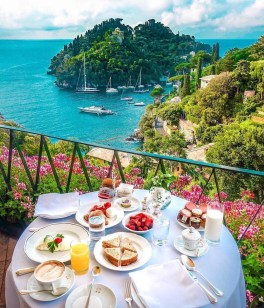 Portofino, Italy - Beach, Blue, Boat, Chair, Cloud, Coastal and oceanic landforms, Cup, Dishware, Flower, Food, Furniture, Green, Leisure, Outdoor furniture, Plant, Plate, Restaurant, Serveware, Sky, Table, Tablecloth, Tableware, Tree, Water, Watercraft, Wine glass