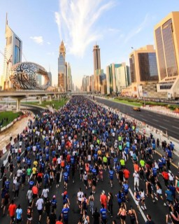 Sheikh Zayed Road, Dubai United Arab Emirates - Building, Cloud, Crowd, Fan, Infrastructure, Morning, Outdoor recreation, Public space, Sky, Skyscraper