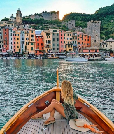 Porto Venere, La Spezia Italy - Azure, Boat, Boats and boating--Equipment and supplies, Building, Daytime, Lake, Leisure, Light, Morning, Naval architecture, Person, Sky, Travel, Water, Watercraft, Waterway, Wood