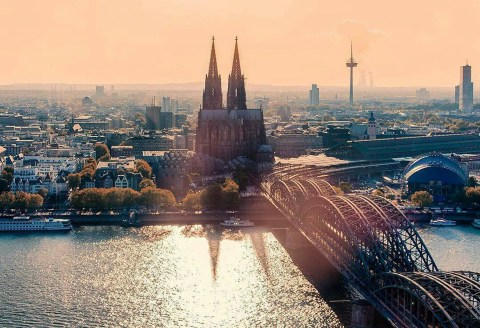 Cologne, North Rhine-Westphalia Germany - Architecture, Building, Cityscape, Daytime, Dusk, Horizon, Nature, Sky, Skyscraper, Sunlight, Tower, Tower block, Water, Water resources, World