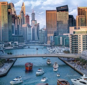 Dubai Marina, Dubai United Arab Emirates - Blue, Boat, Boats and boating--Equipment and supplies, Body of water, Building, Cityscape, Cloud, Condominium, Daytime, Infrastructure, Mode of transport, Property, Sky, Skyscraper, Tower block, Travel, Vehicle, Water, Watercraft