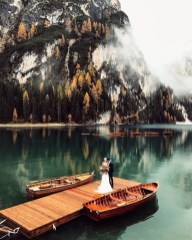 Pragser Wildsee, Mareo South Tyrol Italy - Boat, Cloud, Lake, Mountain, Nature, Person