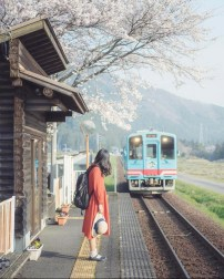 Tokyo, Japan - Electricity, Infrastructure, Locomotive, Mode of transport, Morning, Person, Plant, Railroad car, Railway, Rolling, Rolling stock, Shorts, Sky, Temple, Track, Train, Travel, Tree, Vehicle
