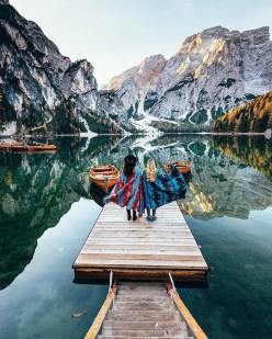 Mareo, Mareo South Tyrol Italy - Bank, Boat, Boats and boating--Equipment and supplies, Clothing, Glacial landform, Highland, Lake, Landscape, Leisure, Mountain, Natural landscape, People in nature, Person, Sky, Travel, Water, Water resources, Watercourse, Watercraft