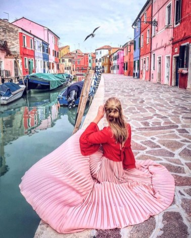 Burano, Venice Venice Italy - Blue, Cool, Dress, Fashion, Flash photography, Happy, Leisure, Lighting, Magenta, Person, Photograph, Pink, Red, Street fashion, Street light, Textile, Travel, Water, White