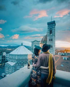 Florence, Florence Florence Italy - Blue, Building, Cloud, Fedora, Flash photography, Person, Sky, Street light, Tower, Travel