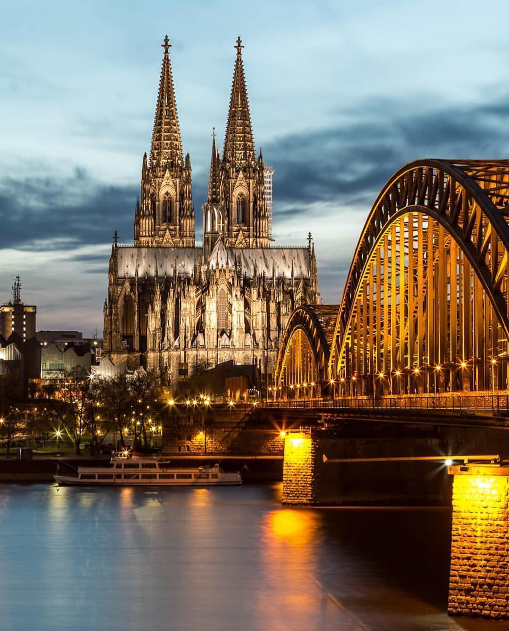 Cologne Cathedral, Cologne North Rhine-Westphalia Germany - Body of water, Bridge, Building, Cityscape, Cloud, Dusk, Lake, Nature, Sky, Tower, Water