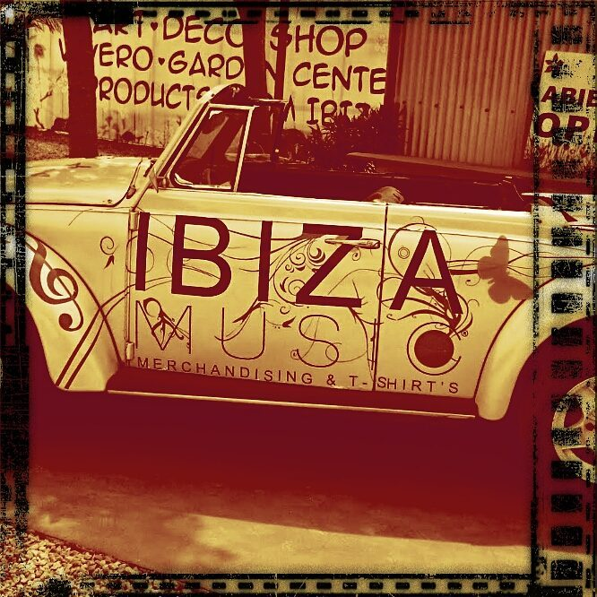 VW Beetle with Ibiza Music Logo