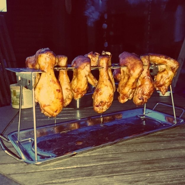 Chicken wings and drumsticks fresh out of the smoke