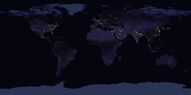 Ilustrasi peta citra satelit atau cahaya malam dari NASA.