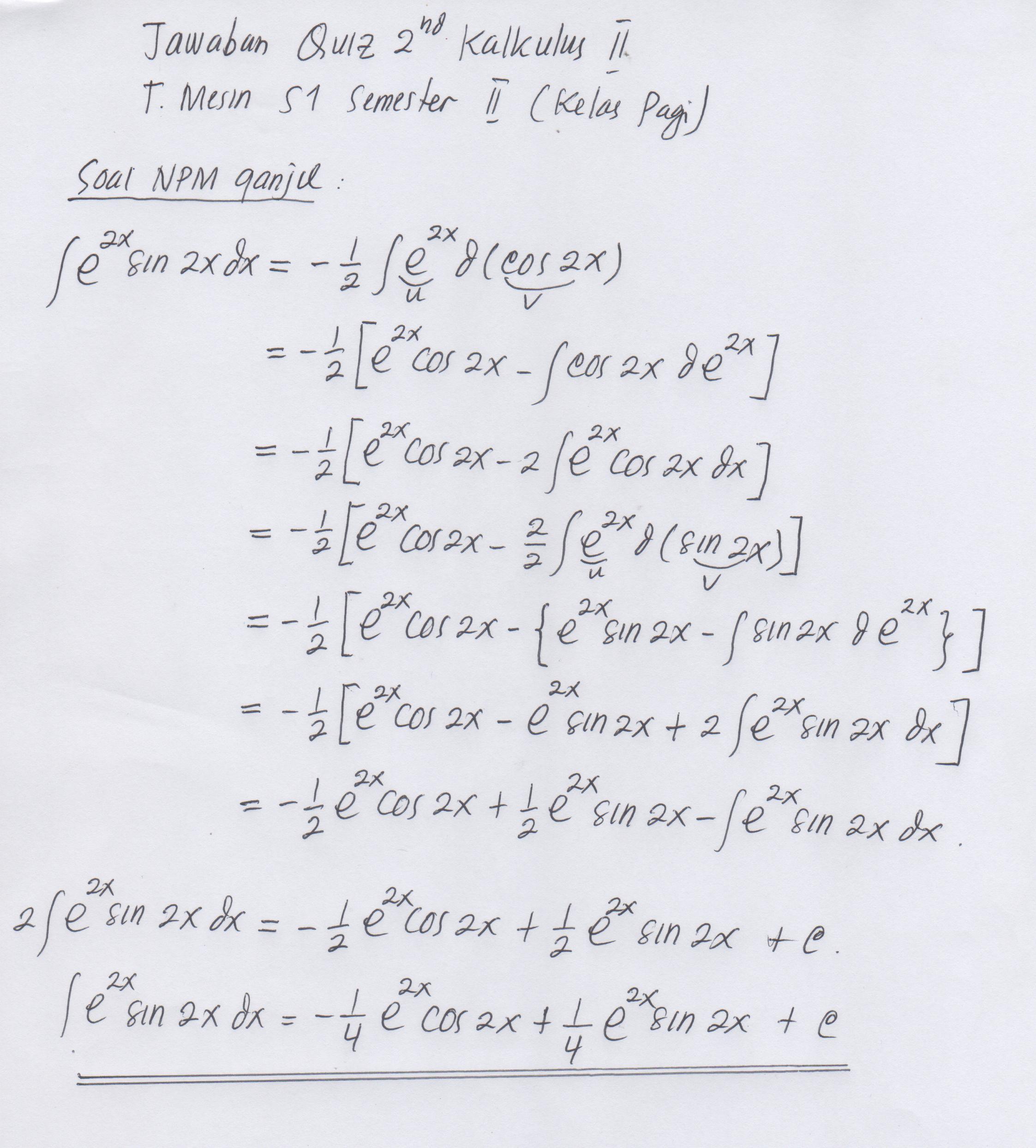 1 inersia 2 f ma dan 3 aksi reaksi beserta contoh soal dan pembahasannya. Jawaban Quiz 2 Kalkulus Ii Kelas Pagi Taufiqur Rokhman