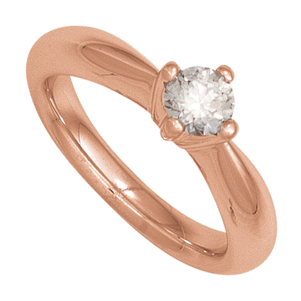 Damen Ring 585 Gold Rotgold 1 Diamant Brillant 025ct
