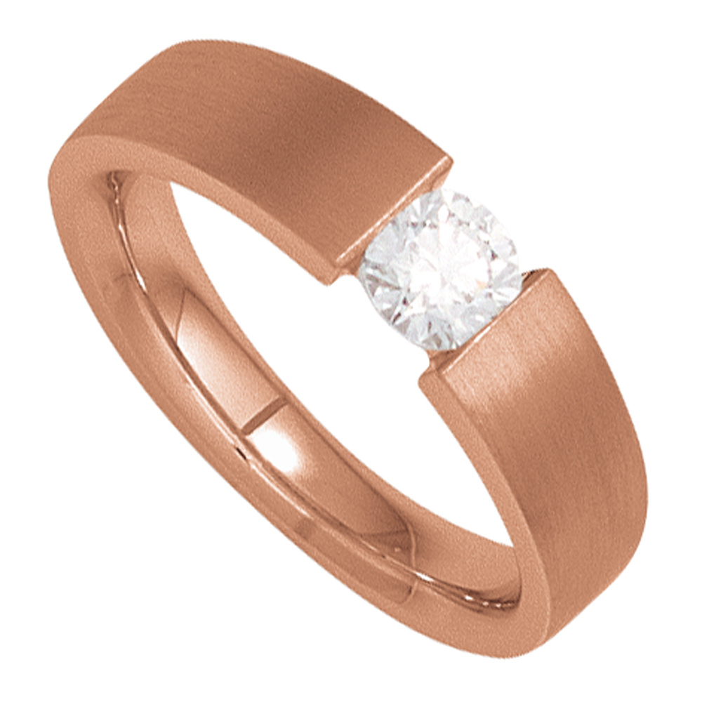 Damen Ring 585 Gold Rotgold mattiert 1 Diamant Brillant 0