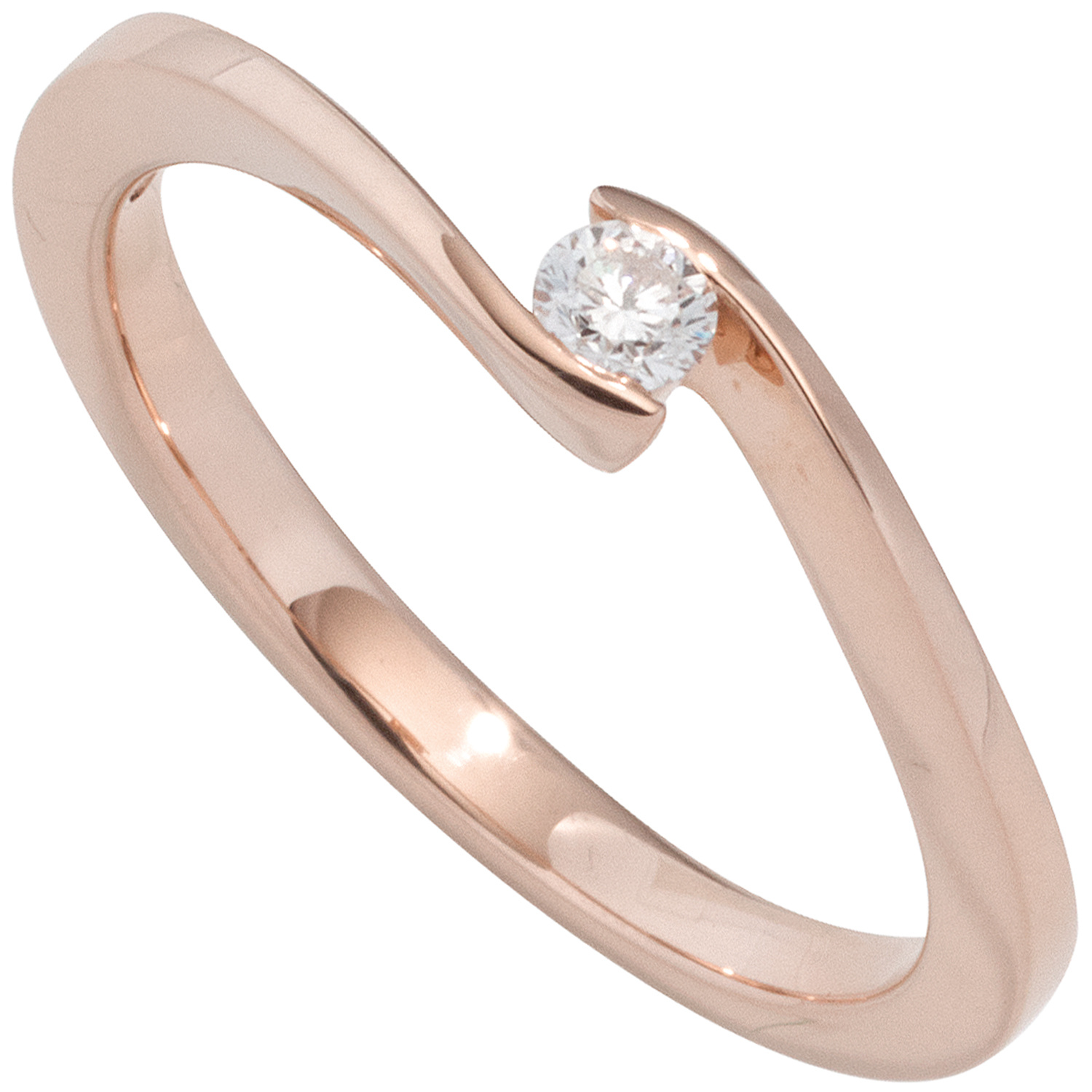 Damen Ring 585 Gold Rotgold 1 Diamant Brillant 020ct