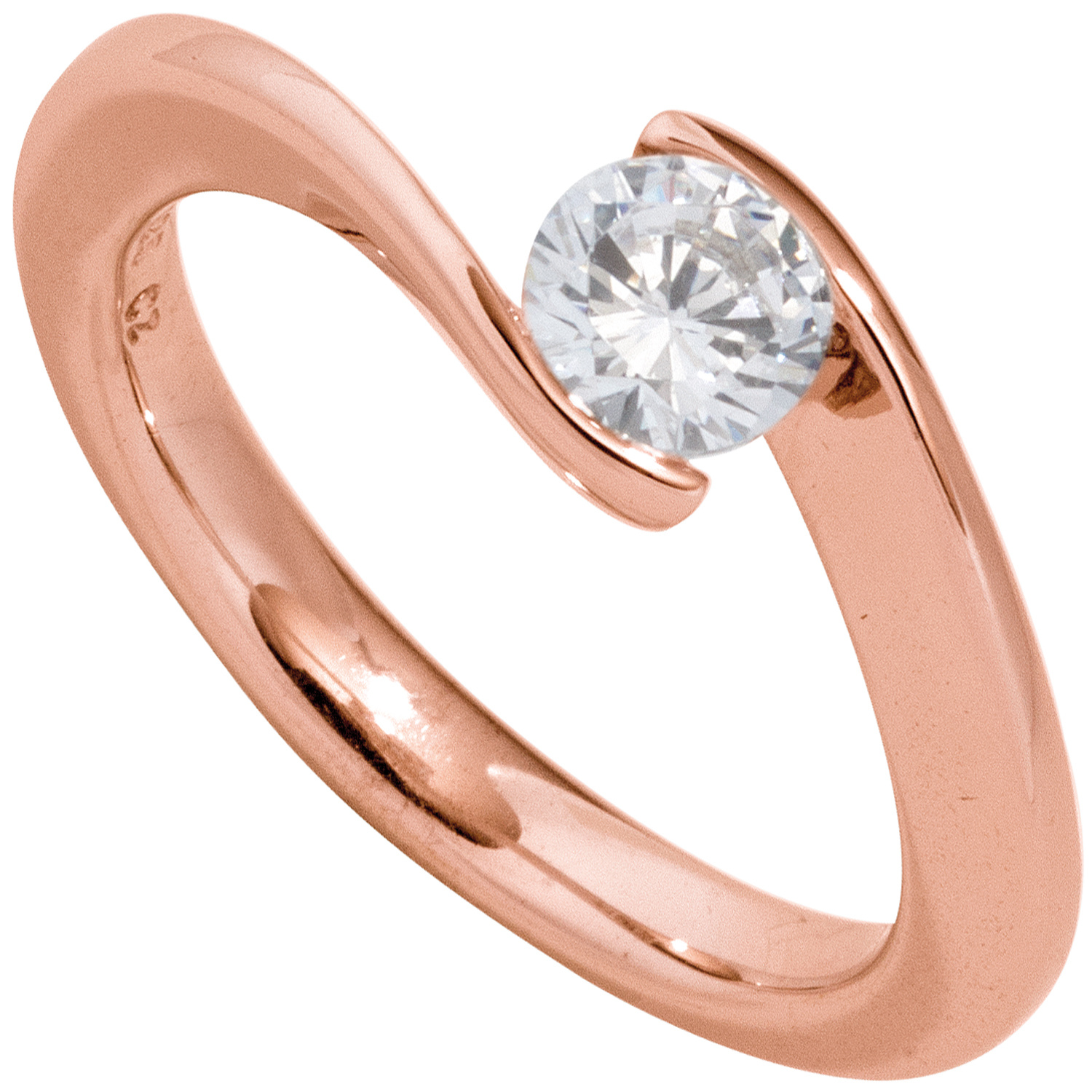 Damen Ring 585 Gold Rotgold 1 Diamant Brillant 050ct