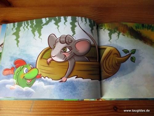 Maus setzt über den Tümpel