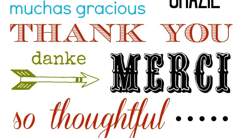 Many Languages Thank You Card Printable