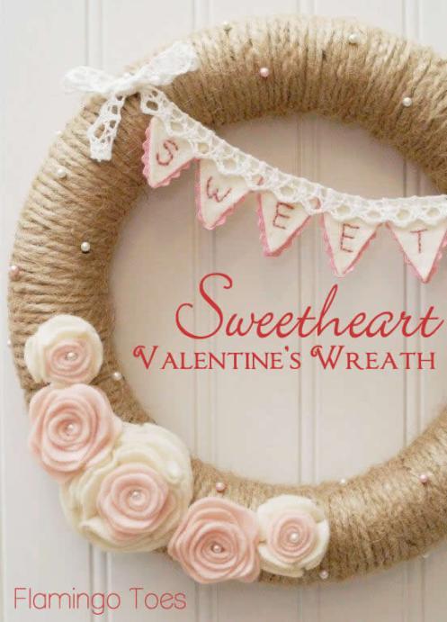 Sweetheart-Valentines-Wreath via Flamingo Toes