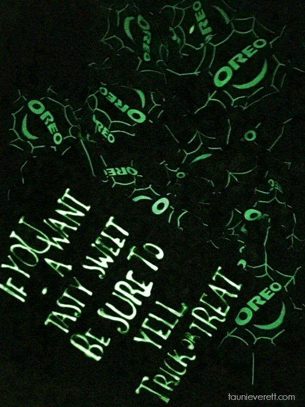 Glow in the dark Halloween treat basket. This is perfect for late night truck or treating or just to set out on the porch!