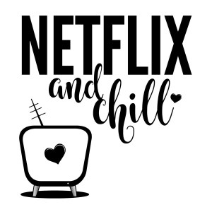 DIY Stenciled Netflix and Chill pillow.
