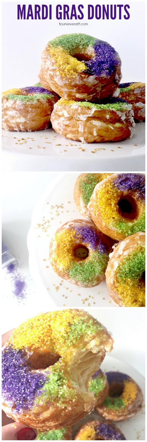 Celebrate Fat Tuesday with King Cake style Mardi Gras Donuts