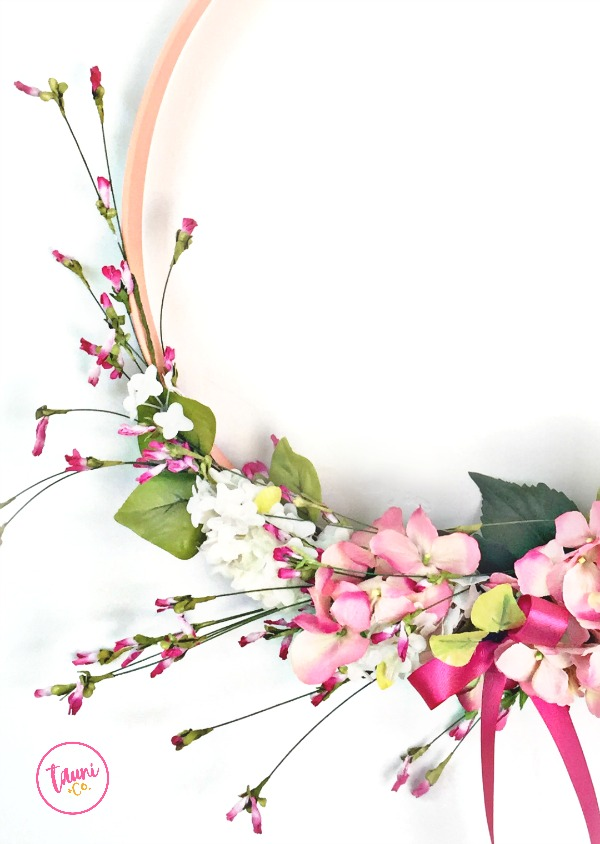 Modern Spring Wreath. This hoop wreath comes together in minutes.