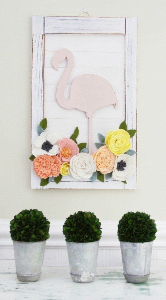 Flamingo and flowers decorative shutter