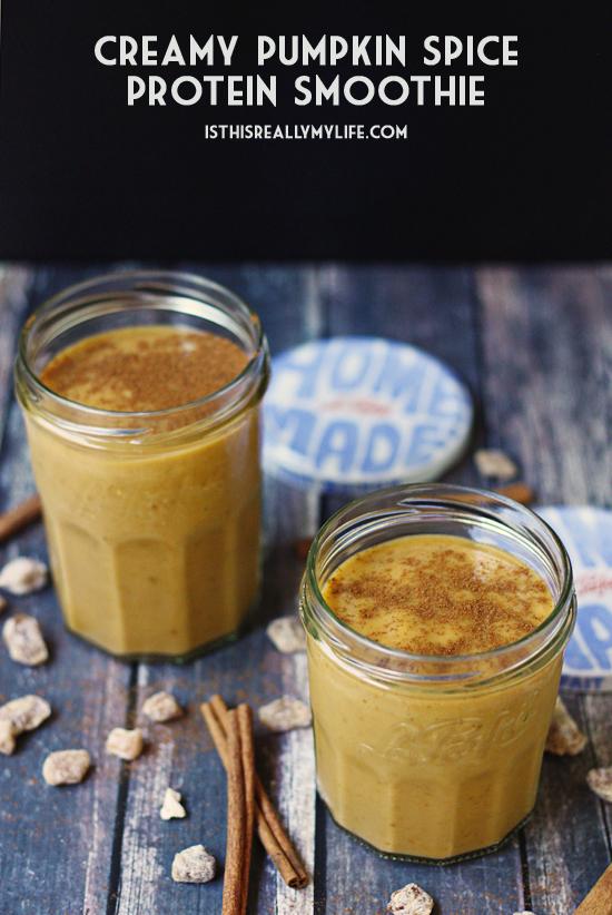 Creamy pumpkin spice protein smoothie 1