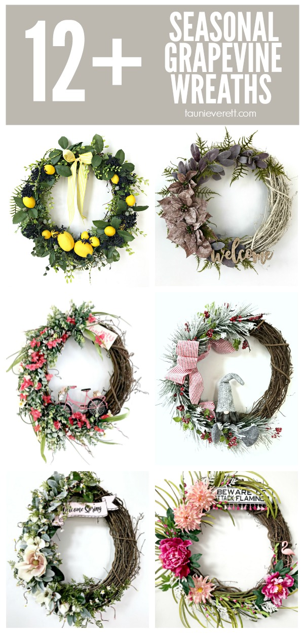 Don't miss this collection of seasonal DIY grapevine wreaths. #wreath #grapevinewreath