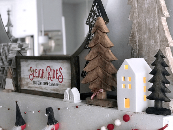 Red and White Christmas Mantel with Gnomes