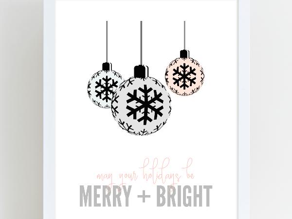 Merry and Bright Christmas Holiday Printable Art