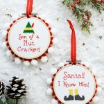 Santa and nutcracker elf ornaments