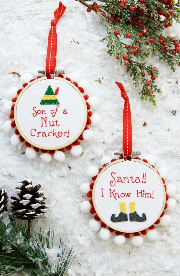 Santa and nutcracker elf ornaments