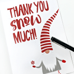Free Printable Gnome Holiday Thank You Card. Perfect for mailing out in January. #thankyou #holidaythankyou #printablethankyou