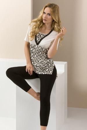 Smotanovo čierny pyžamový set PY060