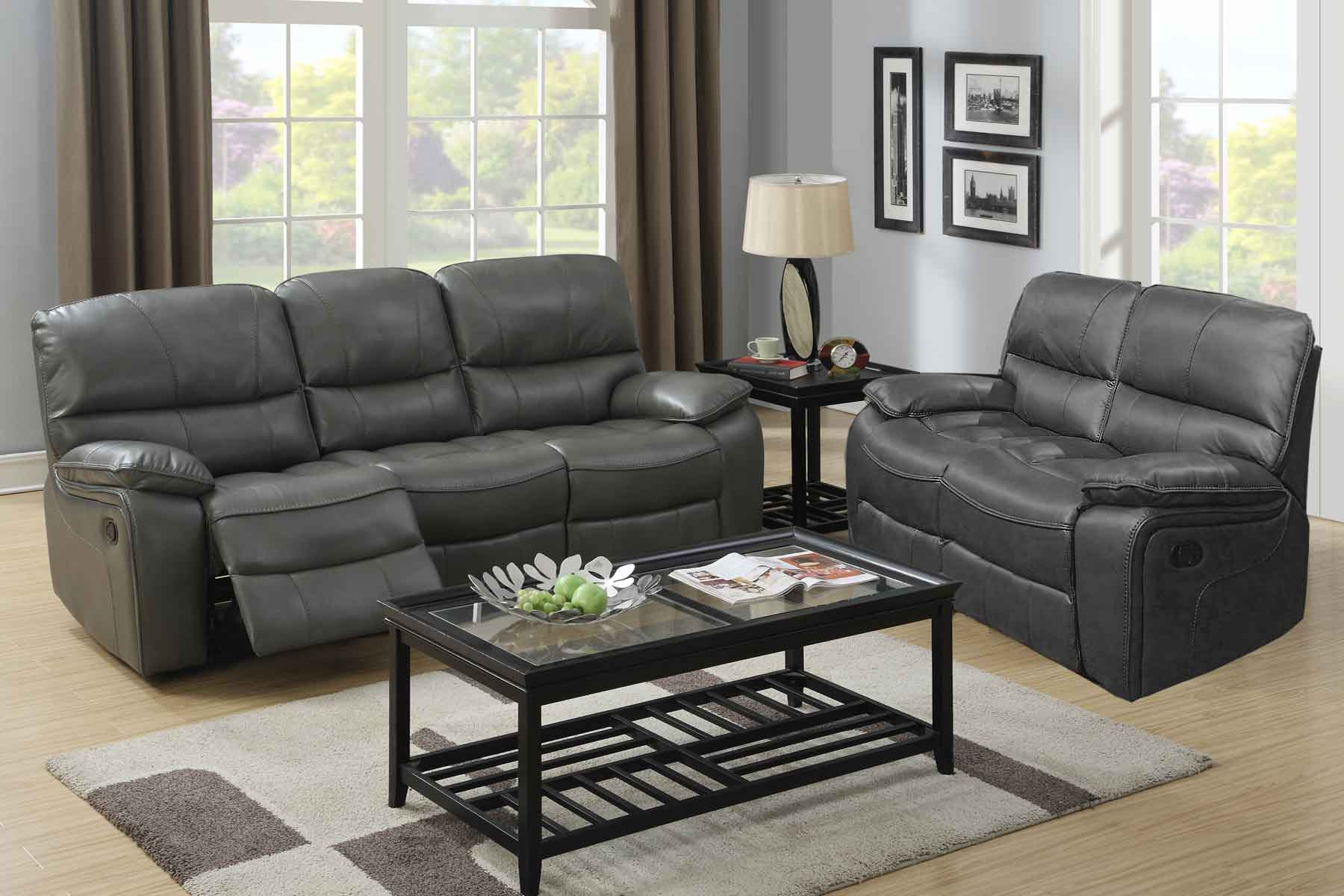 2 Pc Houston Grey Reclining Sofa Love Set within Living Room Recliner Sets